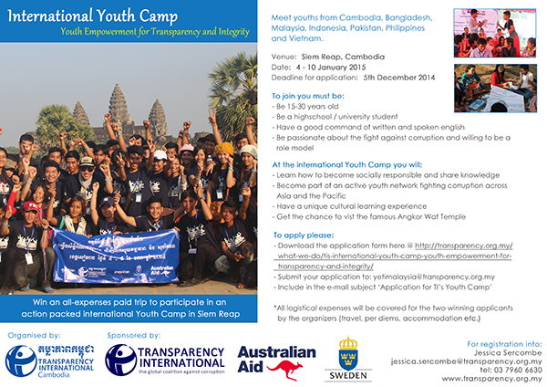 The International Youth Camp on Youth Empowerment for Transparency & Integrity (YETI)