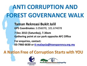 WALK THE TALK: TI-M will be organising its 'Anti-Corruption and Forest Governance Walk'