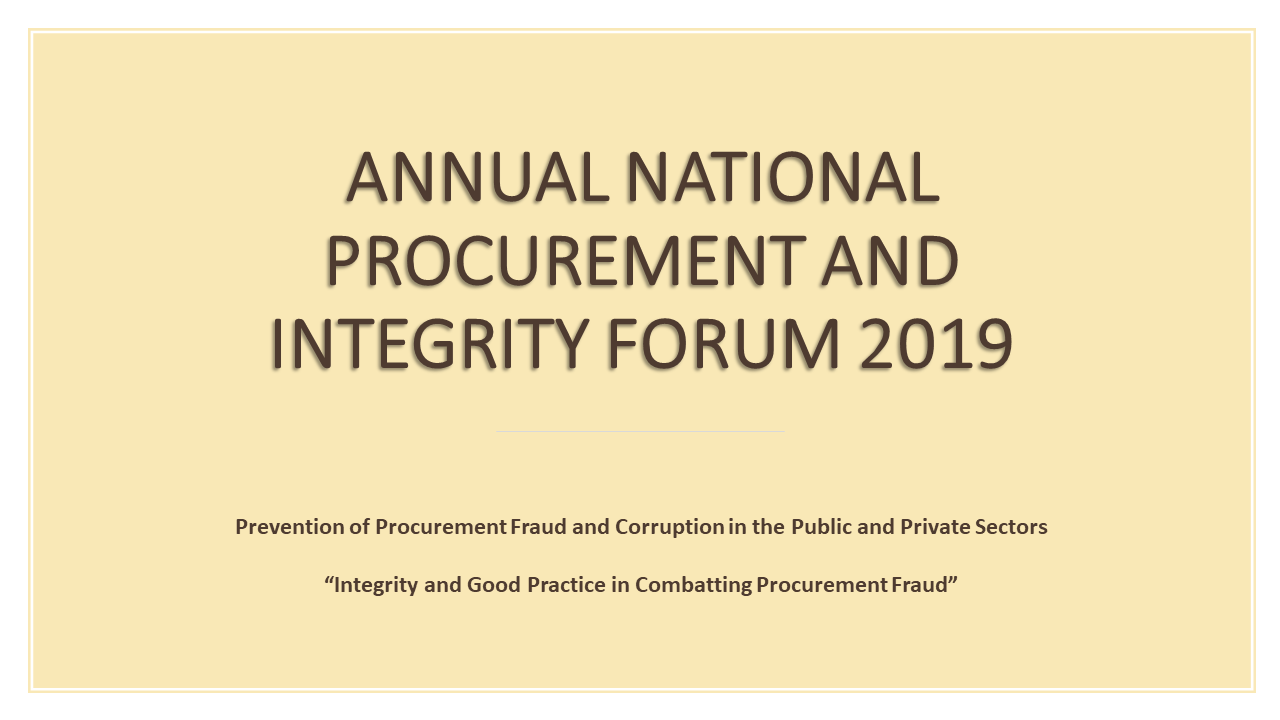 Annual National Procurement and Integrity Forum 2019