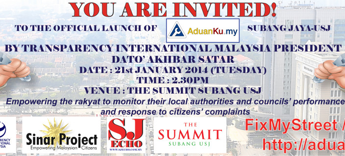 TI-M and Sinar Project Launch FixMyStreet / Aduanku.my